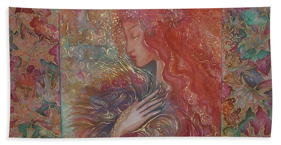 Silk Hand Towel featuring the painting Autumn by Rita Fetisov