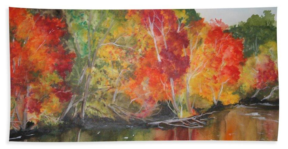 Autumn Bath Towel featuring the painting Autumn Splendor by Jean Blackmer