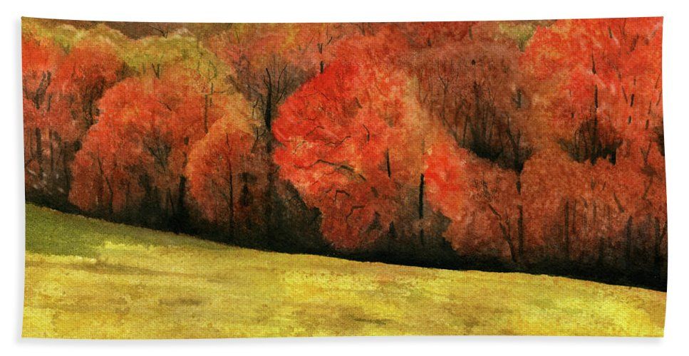 Autumn Hand Towel featuring the painting Autumn Splendor by Mary Tuomi