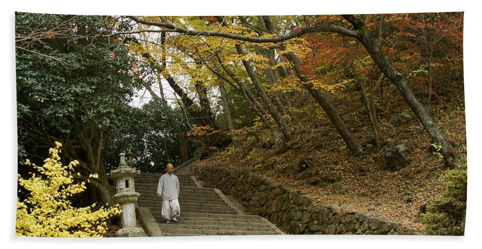 Asia Hand Towel featuring the photograph Autumn Stairway by Michele Burgess