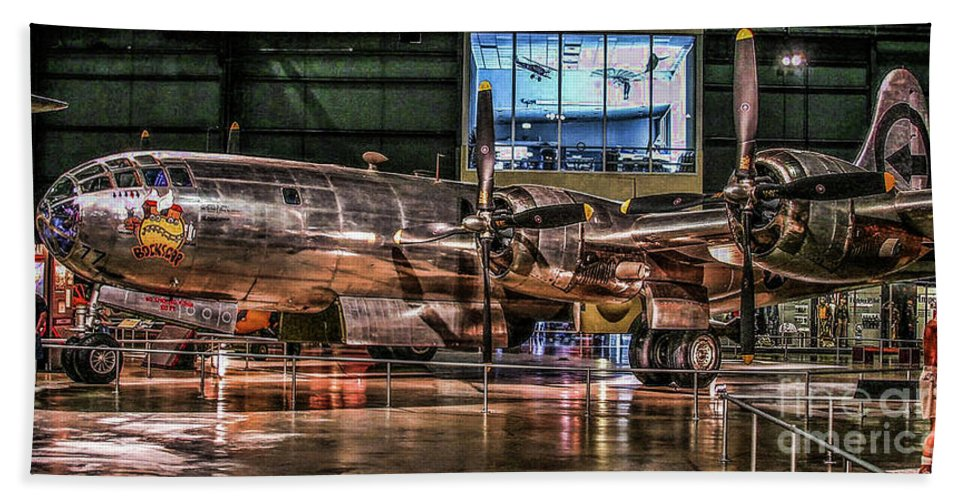 Usaf Museum Bath Sheet featuring the photograph B-29 Bockscar by Tommy Anderson