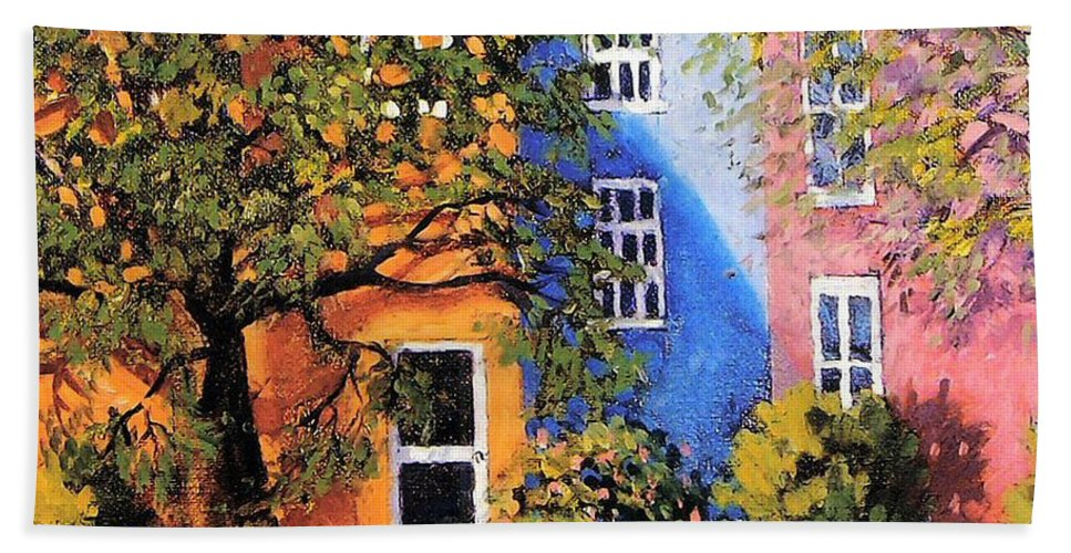 Scenic Bath Sheet featuring the painting Backyard by Jonathan Carter