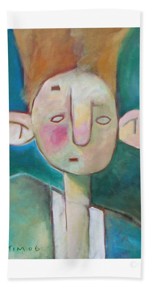 Funny Bath Towel featuring the painting Bad Hair Life by Tim Nyberg