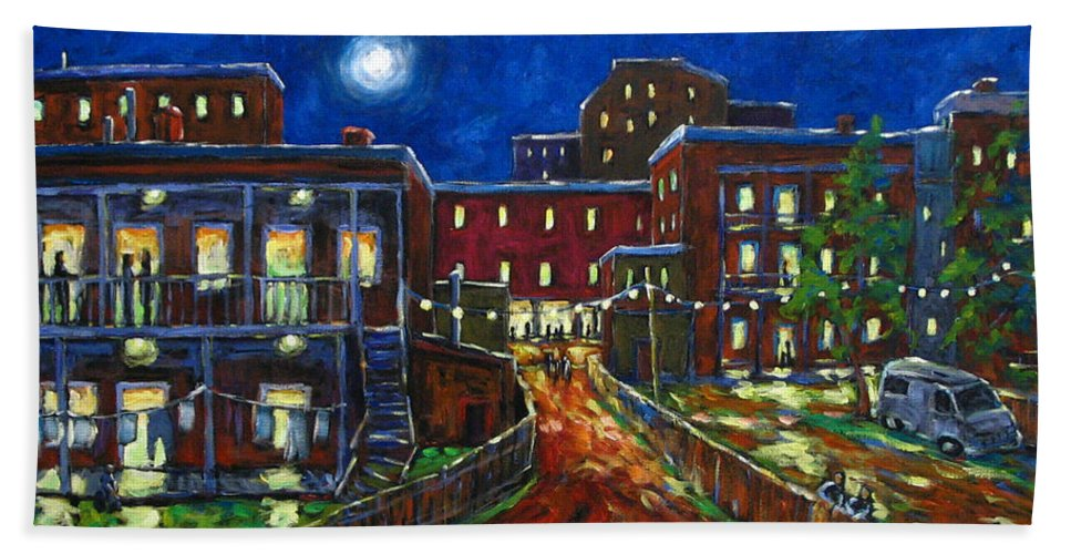 Town Hand Towel featuring the painting Balconville by Richard T Pranke