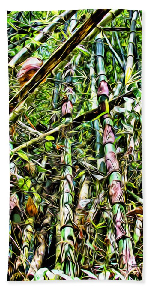 Bamboo Hand Towel featuring the digital art Bamboo Forest by Anthony C Chen