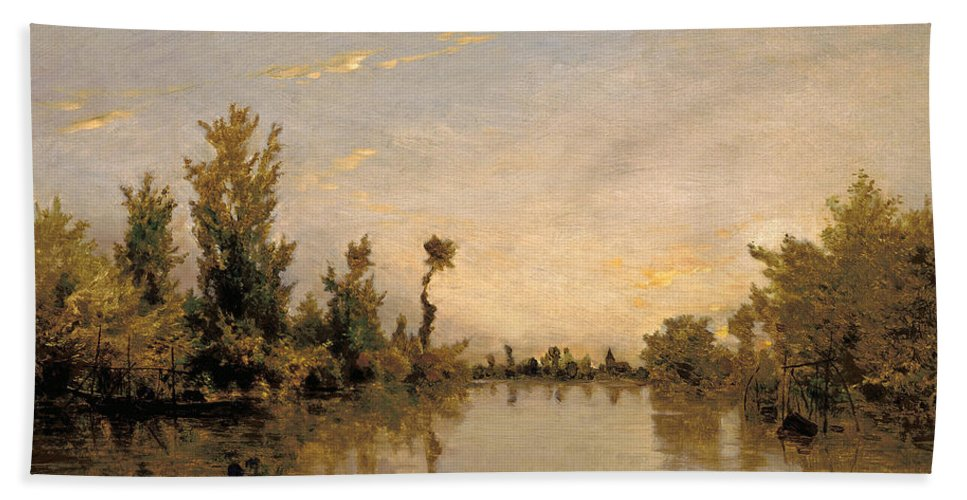 Charles-francois Daubigny Hand Towel featuring the painting Banks Of The Seine by Charles-Francois Daubigny
