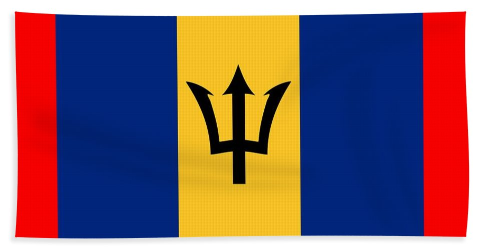 Banner Hand Towel featuring the digital art Barbados Flag by Frederick Holiday