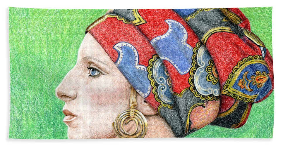 Singer Hand Towel featuring the drawing Barbra Streisand by Rob De Vries