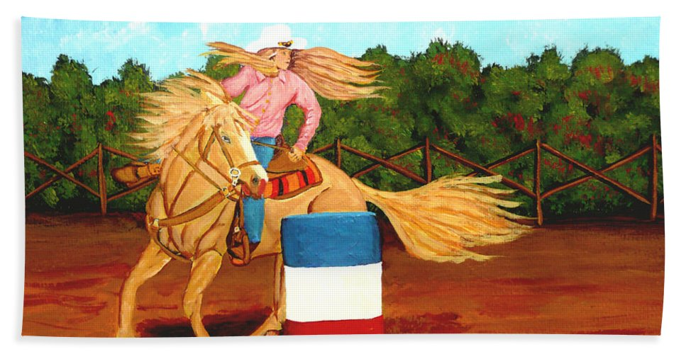 Rodeo Bath Towel featuring the painting Barrel Racer by Anthony Dunphy