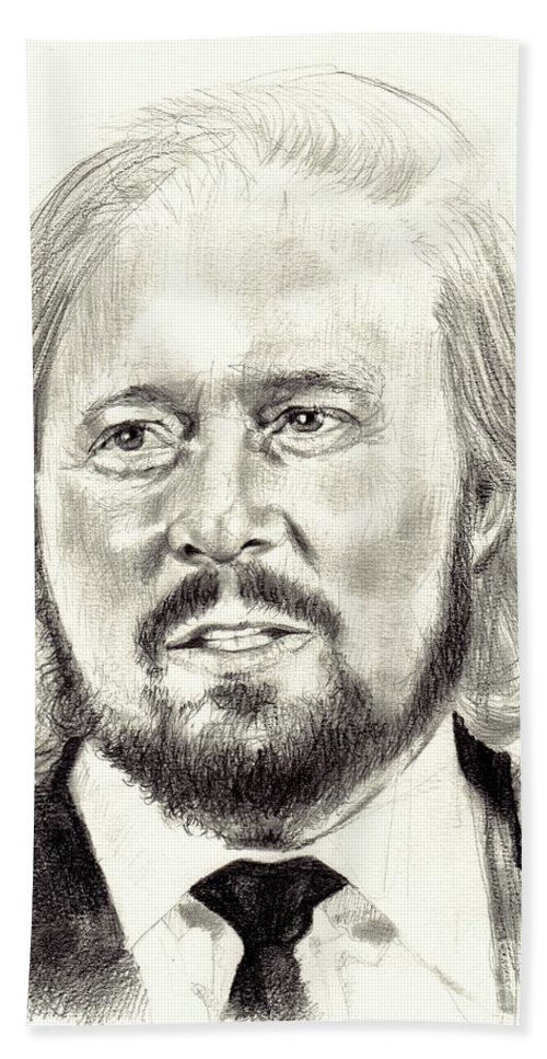 Barry Gibb Bath Towel featuring the drawing Barry Gibb Portrait by Suzann Sines