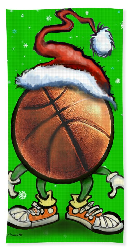 Basketball Hand Towel featuring the digital art Basketball Christmas by Kevin Middleton
