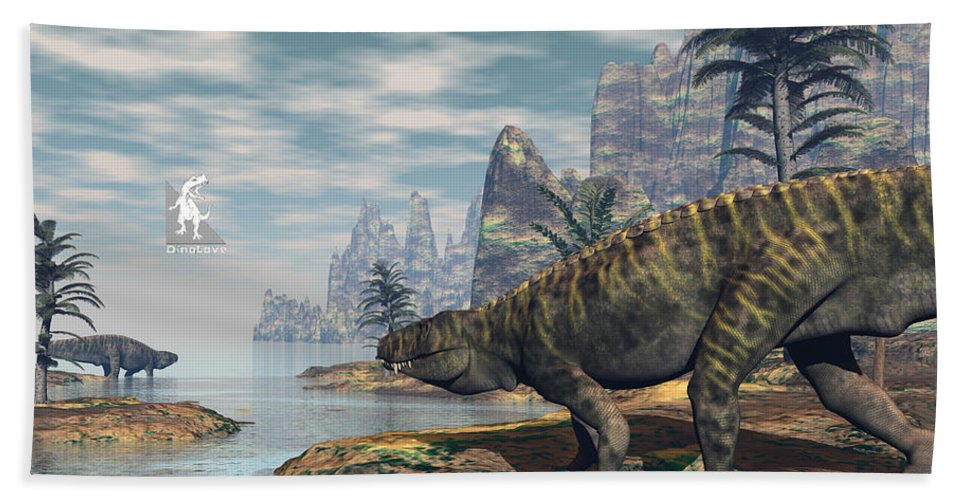 Batrachotomus Hand Towel featuring the digital art Batrachotomus Dinosaurs -3d Render by Elenarts - Elena Duvernay Digital Art