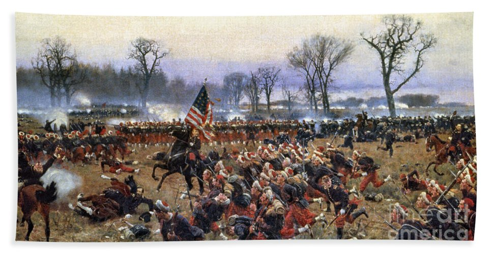 1862 Hand Towel featuring the painting Battle Of Fredericksburg - To License For Professional Use Visit Granger.com by Granger