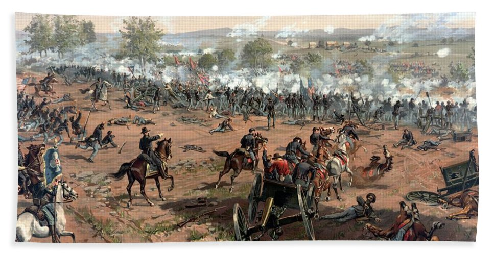 Civil War Hand Towel featuring the painting Battle Of Gettysburg by War Is Hell Store