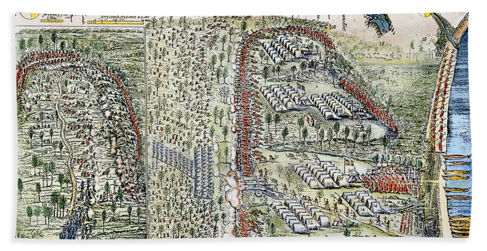 1755 Hand Towel featuring the photograph Battle Of Lake George, 1755 by Granger