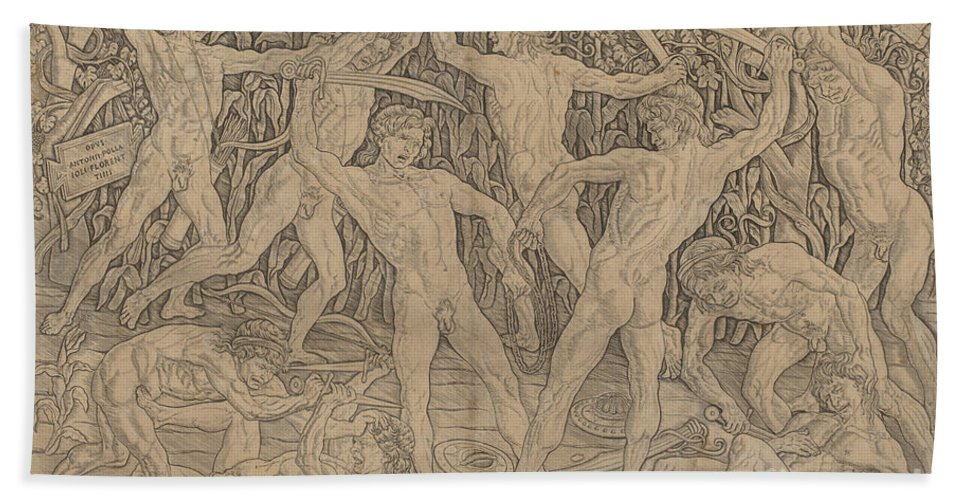 Hand Towel featuring the drawing Battle Of The Nudes by Antonio Del Pollaiuolo