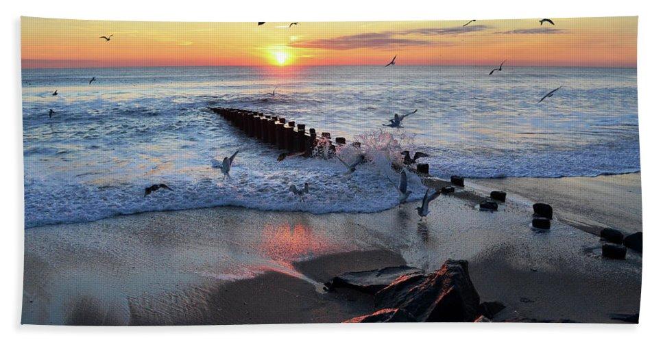 Bay Head Bath Sheet featuring the photograph Bay Head Sunrise by Bob Cuthbert