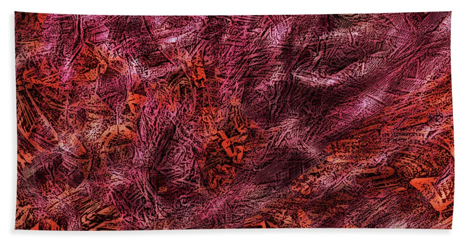Abstract Artwork Baroque Camouflage Chaos Circles Clouds Combat Expressionism Faces Fantasy Fight Head Illusion Opart Organic Patterns Portrait Red Rococo Smoke Surreal Swirls Totems Bath Sheet featuring the digital art Bboard12 by Thomas Krahn