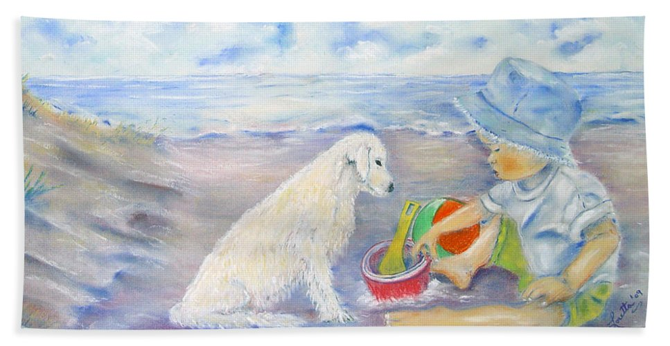 People Bath Sheet featuring the painting Beach Boy by Loretta Luglio