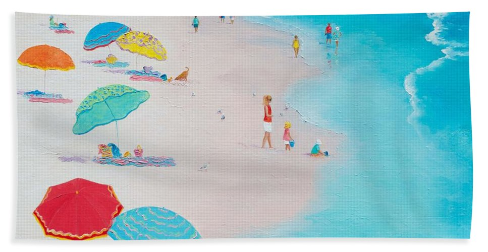 Beach Hand Towel featuring the painting Beach Painting - One Summer by Jan Matson