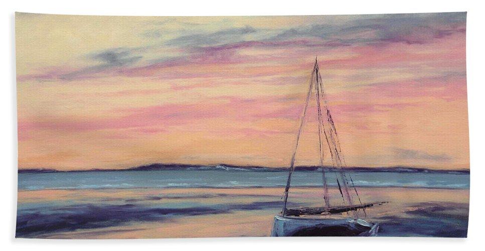 Isa Ridabock Bath Sheet featuring the painting Beached At Sunset by Lisa H Ridabock