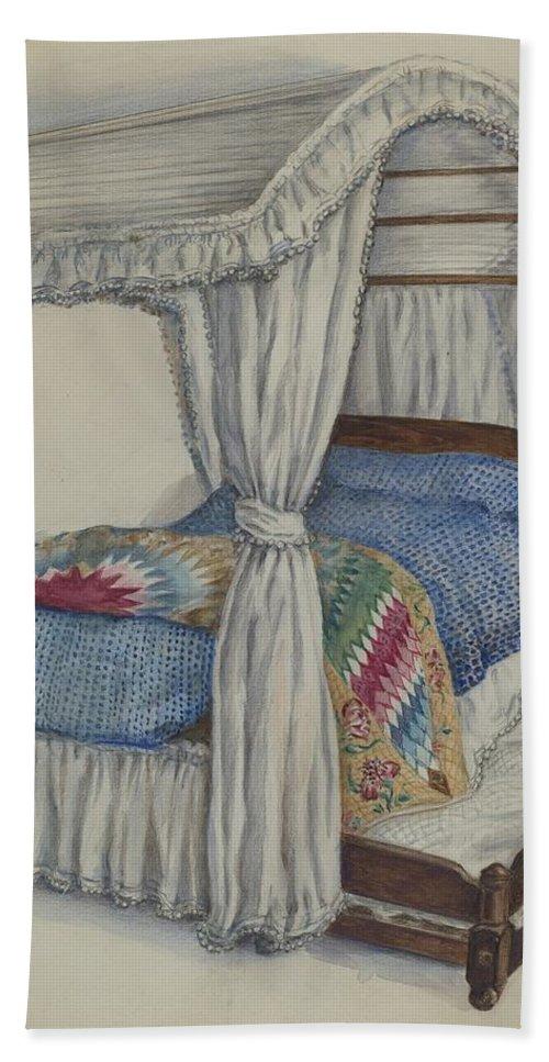 Irene Malawicz Hand Towel featuring the drawing Bedstead by Irene Malawicz