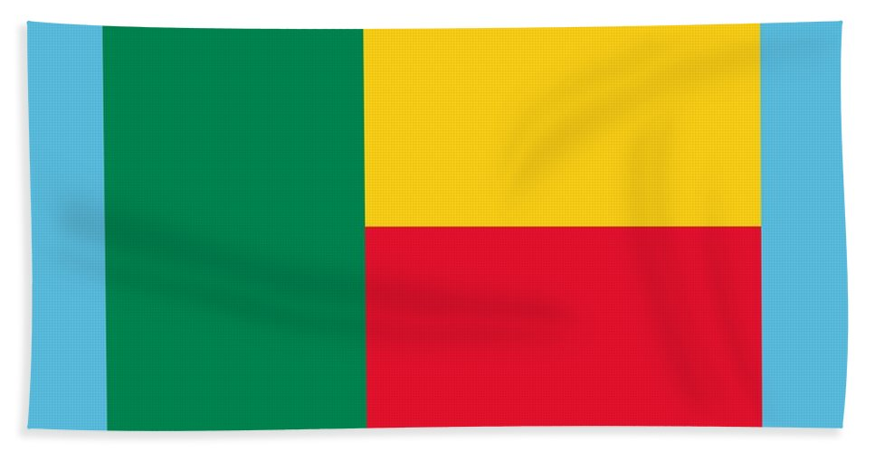 Banner Hand Towel featuring the digital art Benin Flag by Frederick Holiday