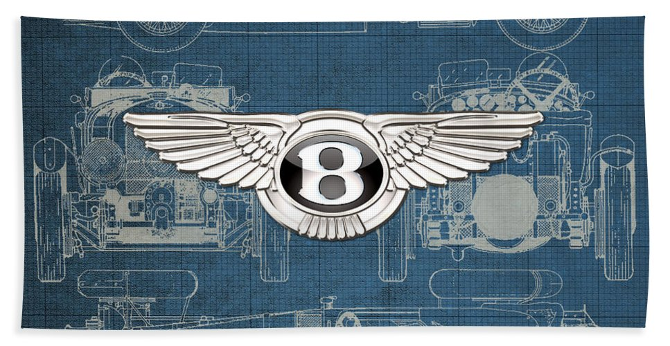 �wheels Of Fortune� By Serge Averbukh Bath Towel featuring the photograph Bentley - 3 D Badge over 1930 Bentley 4.5 Liter Blower Vintage Blueprint by Serge Averbukh