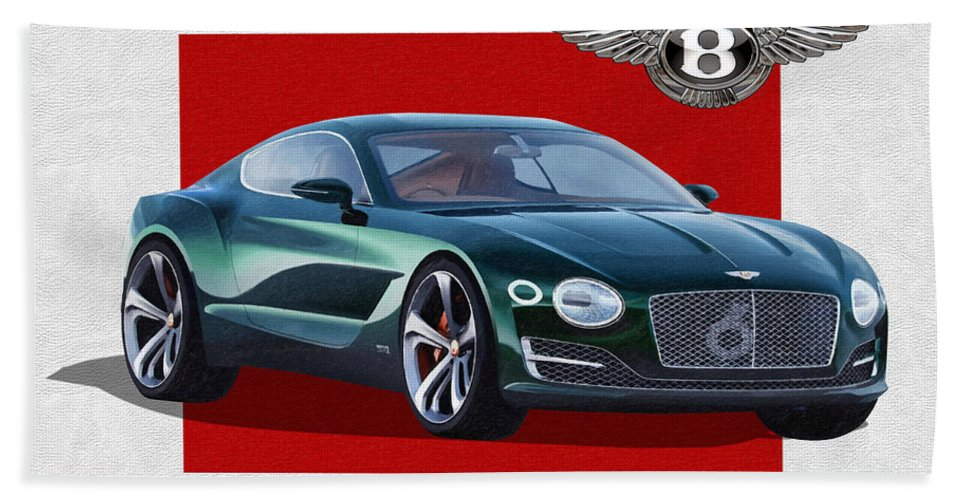 �bentley� Collection By Serge Averbukh Bath Towel featuring the photograph Bentley E X P 10 Speed 6 with 3 D Badge by Serge Averbukh