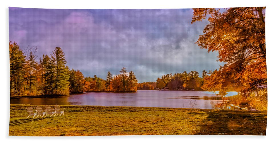 Autumn Bath Sheet featuring the photograph Best Seats In Town by Claudia M Photography