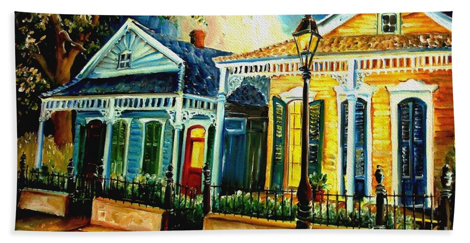 New Orleans Bath Sheet featuring the painting Big Easy Neighborhood by Diane Millsap
