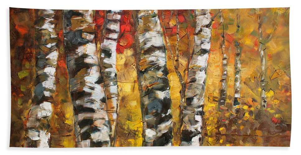 Landscape Hand Towel featuring the painting Birch Trees In Golden Fall by Ylli Haruni