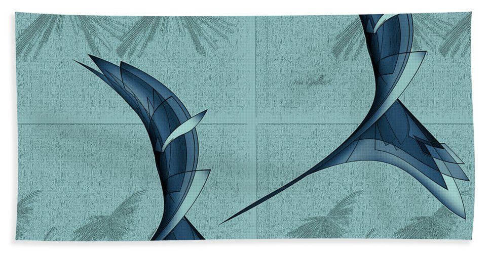 Abstract Bath Sheet featuring the digital art Birds In Flight by Iris Gelbart