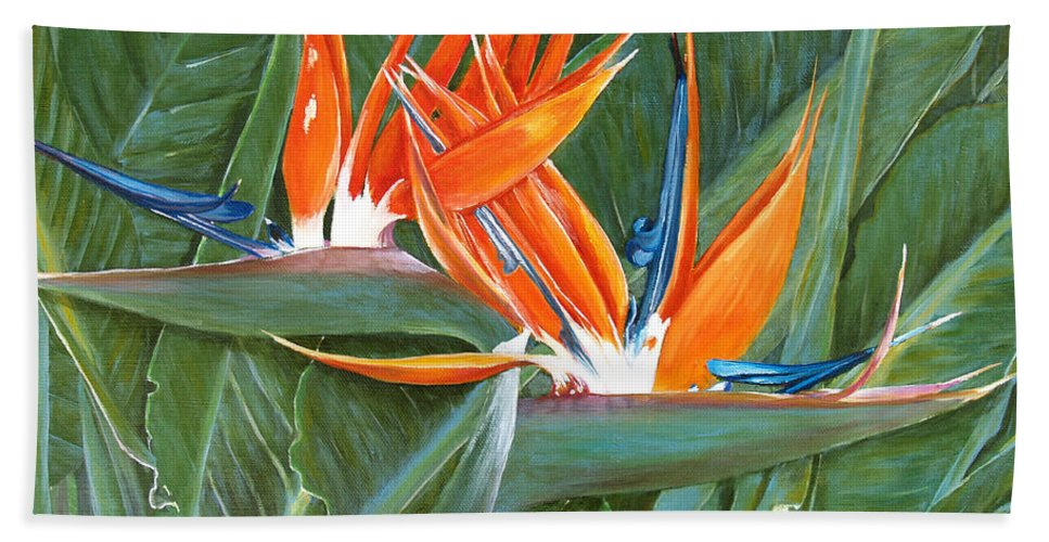 Floral Hand Towel featuring the painting Birds Of Paradise by Larry Geyrozaga