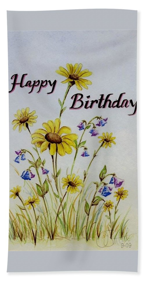 Card Bath Sheet featuring the painting Birthday Card by Jimmy Smith