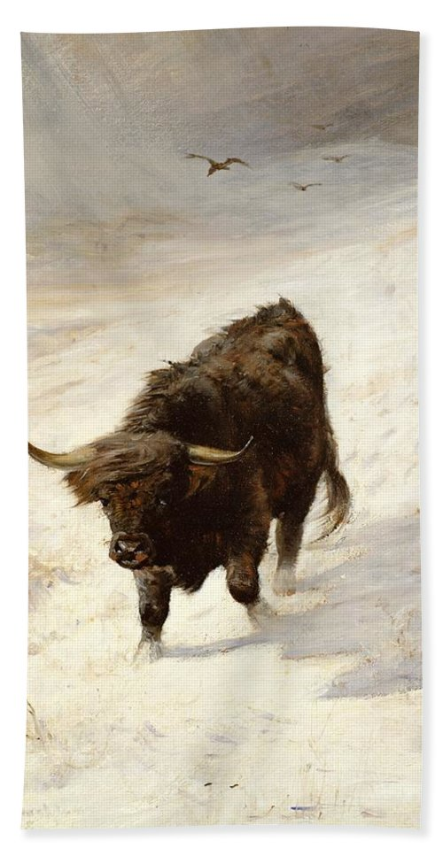 Black Beast Wanderer By Joseph Denovan Adam (1842-96) Hand Towel featuring the painting Black Beast Wanderer by Joseph Denovan Adam