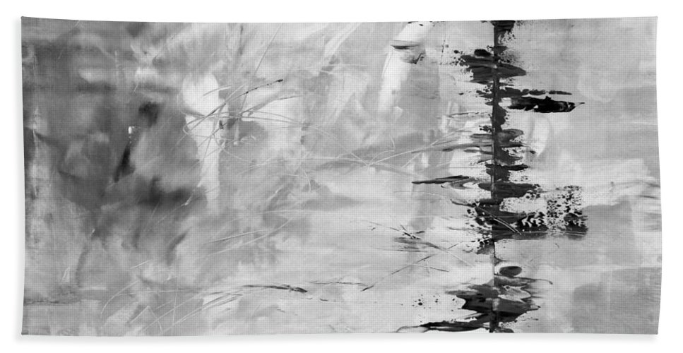 Black Bath Sheet featuring the painting Black Gray Abstract by Voros Edit