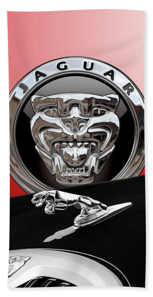'auto Badges' Collection By Serge Averbukh Bath Towel featuring the photograph Black Jaguar - Hood Ornaments and 3 D Badge on Red by Serge Averbukh