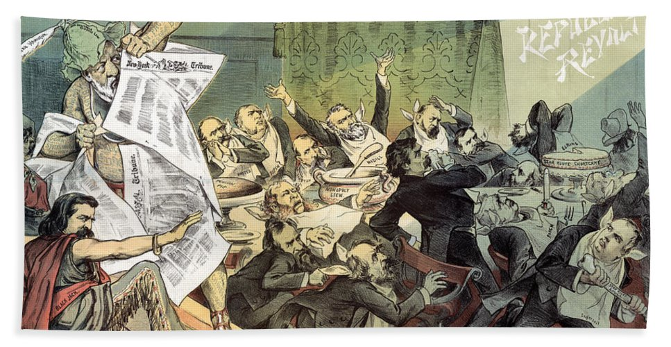 1884 Hand Towel featuring the photograph Blaine Cartoon, 1884 by Granger