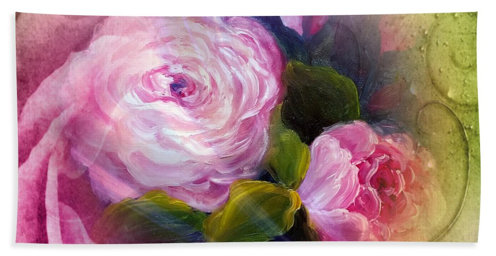 Blooming Hand Towel featuring the painting Blooming by Vesna Martinjak