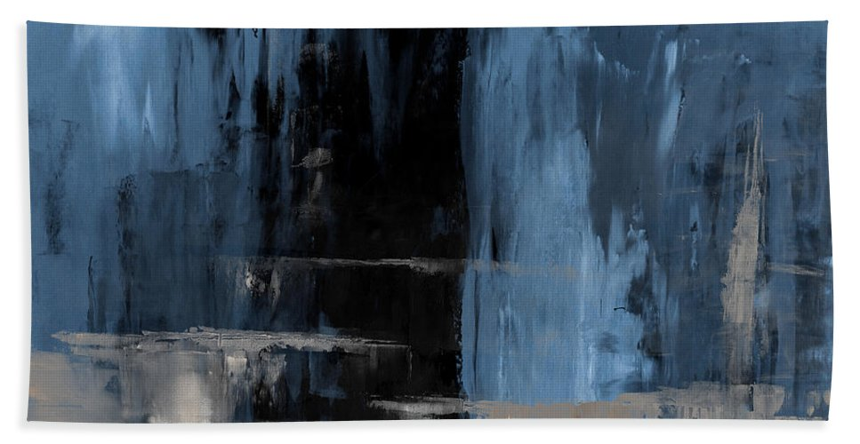 Blue Bath Sheet featuring the painting Blue Abstract 12m2 by Voros Edit