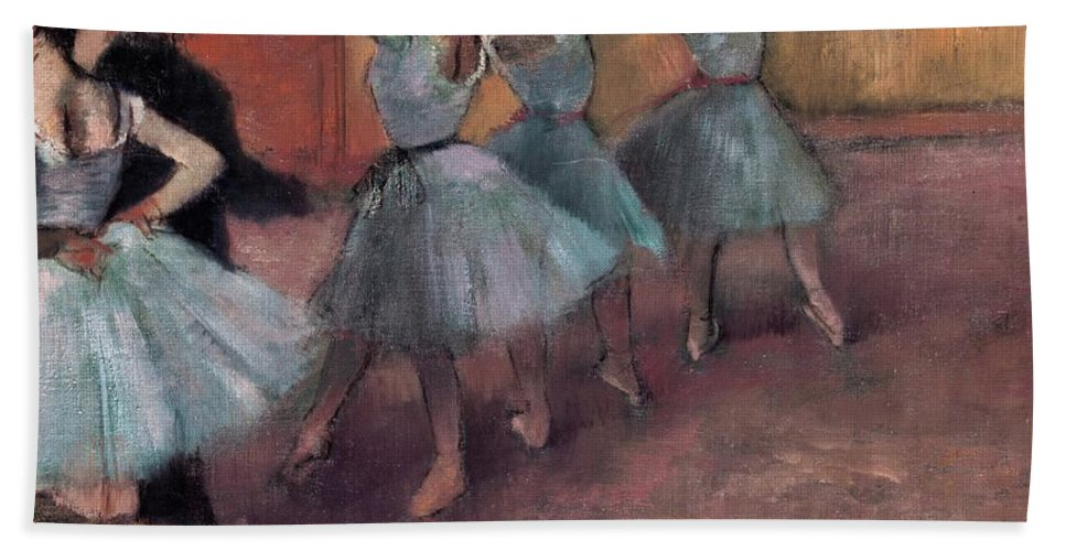 Impressionist Hand Towel featuring the painting Blue Dancers by Edgar Degas