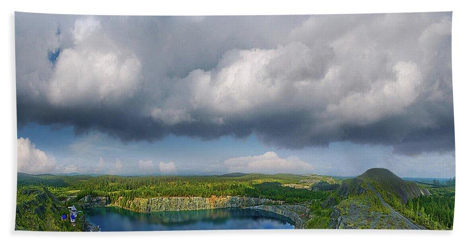 Landscape Bath Sheet featuring the photograph Blue Lake by Vladimir Kholostykh