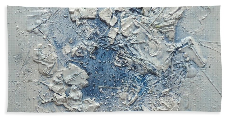 Abstrct Hand Towel featuring the relief Blue by Rita Scarpelli