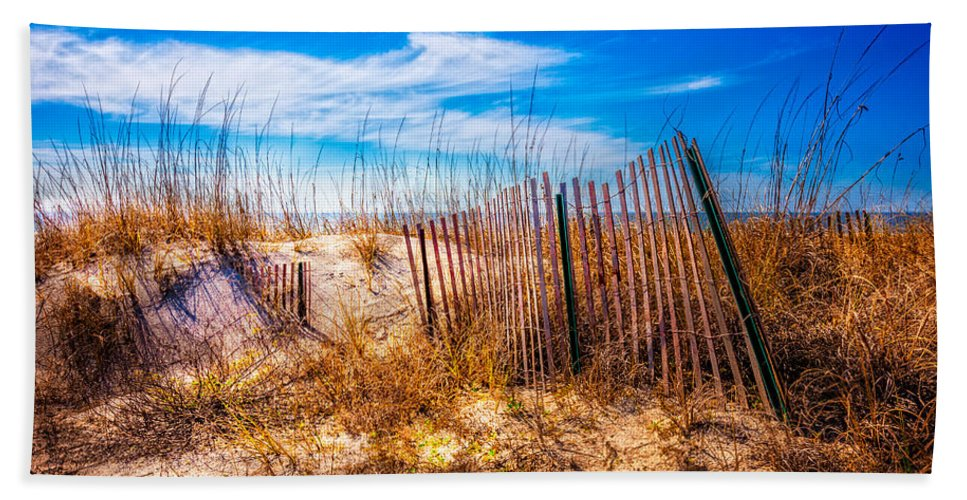 Clouds Bath Sheet featuring the photograph Blue Sky Over The Dunes by Debra and Dave Vanderlaan
