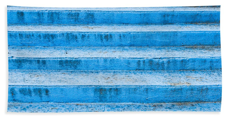 Abstract Bath Sheet featuring the photograph Blue Steps by Tom Gowanlock