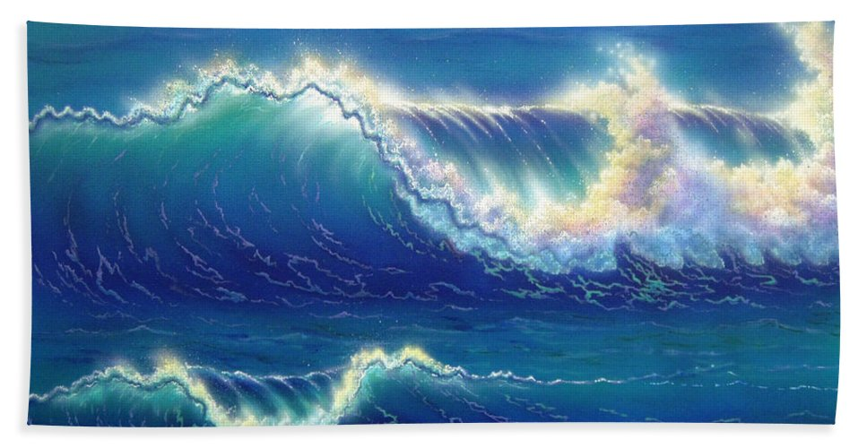Blue Bath Sheet featuring the painting Blue Thunder by Angie Hamlin