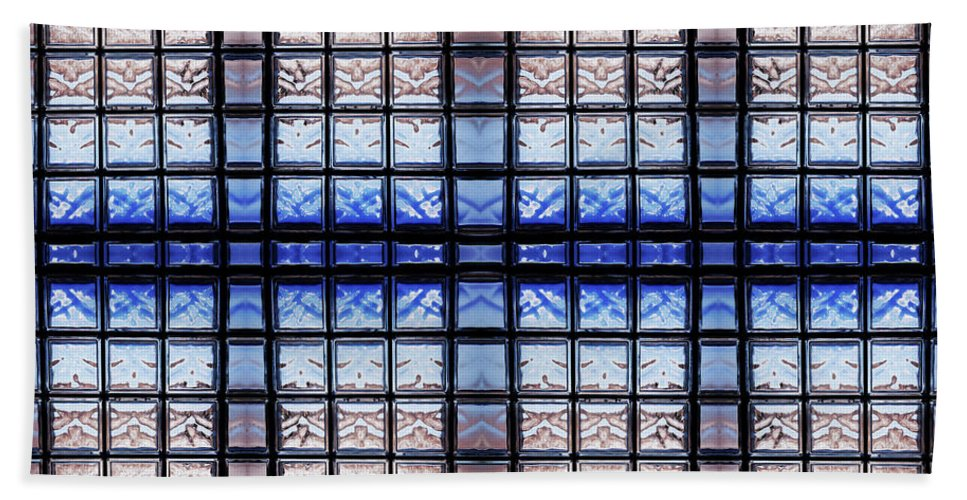 Abstract Bath Sheet featuring the photograph Blue Toned Glass Brick Window Abstract by Arletta Cwalina