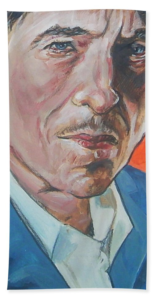 Bob Dylan Bath Sheet featuring the painting Bob Dylan by Bryan Bustard