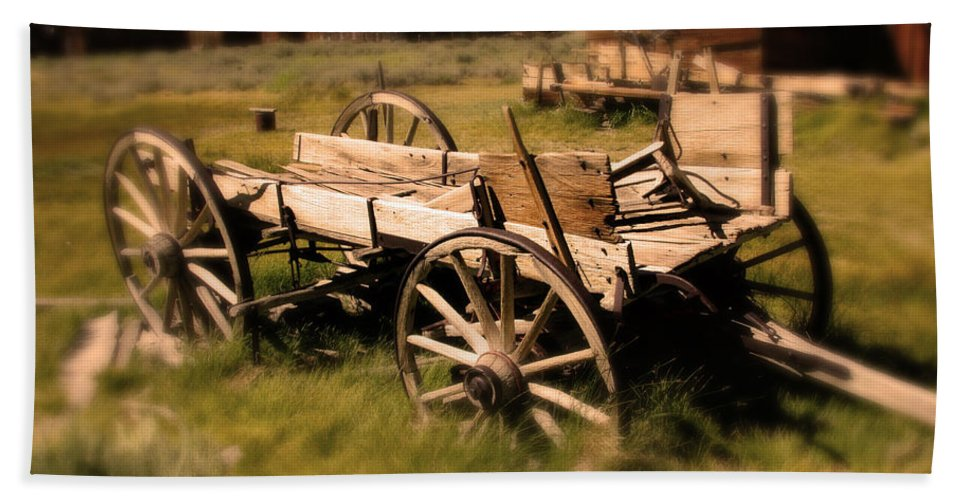 Wagon Bath Sheet featuring the photograph Bodie Wagon by Chris Brannen